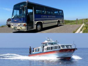 観光船と観光バス